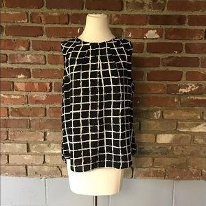 NY&C Sleeveless Black & White Blouse - Large